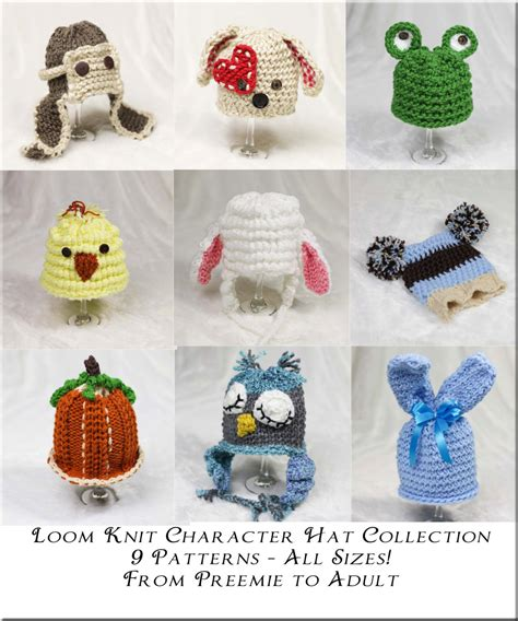 spool knit animals loom knit character hat pattern collection 9 adorable
