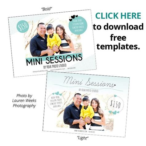 Two Free Photoshop Templates For Photographers To Promote Their Mini Sessions Magazinemama Free Mini Session Templates