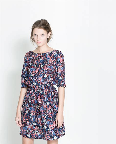 Zara Chrysan Floral zara floral dress with buttons at the back lyst