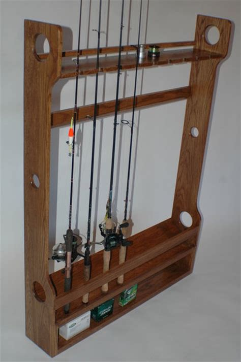 How To Build A Fishing Pole Rack by Fishing Rod Rack Woodworking Plans Ideas