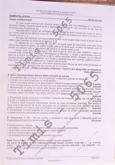 Evaluare Edu Ro Subiecte Romana Evaluare Nationala 2016