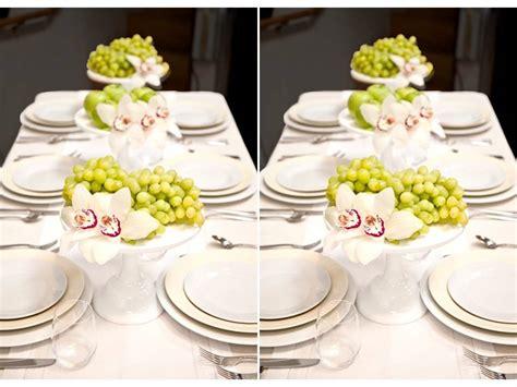 unique wedding centerpiece idea fruit orchids on
