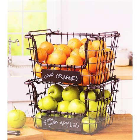 kitchen wire fruit basket vegetable hartney stacking