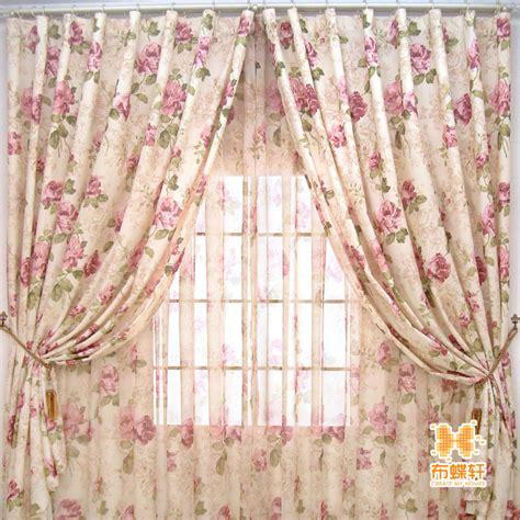 rose pattern curtains american style flower rustic curtain print shalian super
