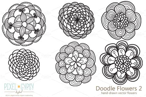 doodle flowers doodle flowers 2 vector illustrations on creative market