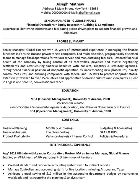international resume format for accountant 21 cv sle for accountant waa mood