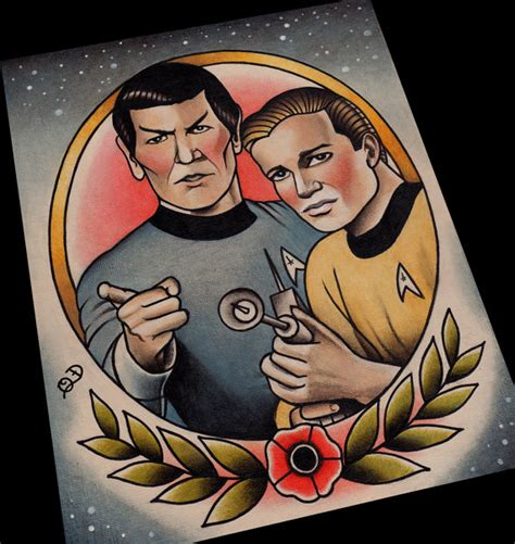 captain kirk and spock star trek tattoo flash art print