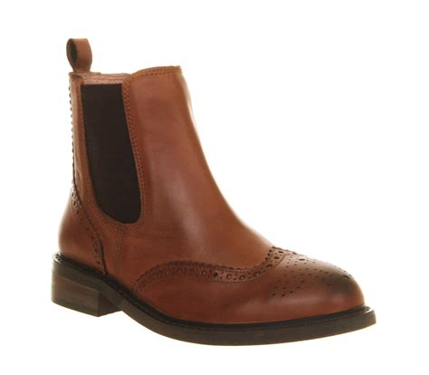 womens office baron brogue chelsea brown leather boots ebay