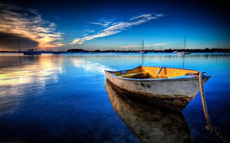 Landscape Boat Boat Parked In The Beautiful Scenery Wallpaper 13