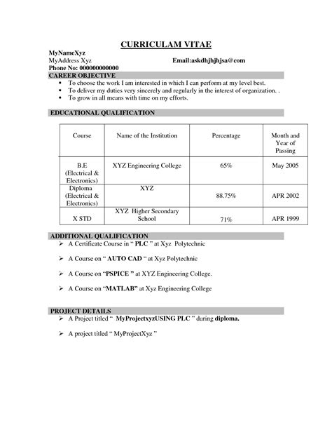 Sle Resume Format For Freshers With Photo Attached Be Ece Resume For Fresher 28 Images Be Ece Fresher Resume B Tech Be Fresher Year Resume