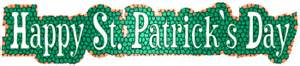 happy st s day word banner clip green and orange snake skin with lettering