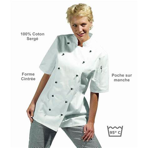 veste cuisine femme manche courte veste de cuisine femme manches courtes cintr 233 e coton serg 233
