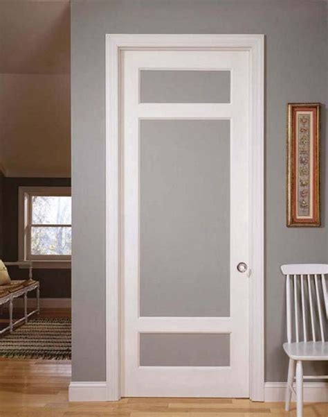 Interior Glass Door Simple Vintage Styled Interior Doors With Frosted Glass And Using Simple Molding In The Edge