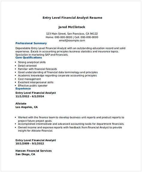 sle resume of a financial analyst resume entry level financial analyst gambarin us