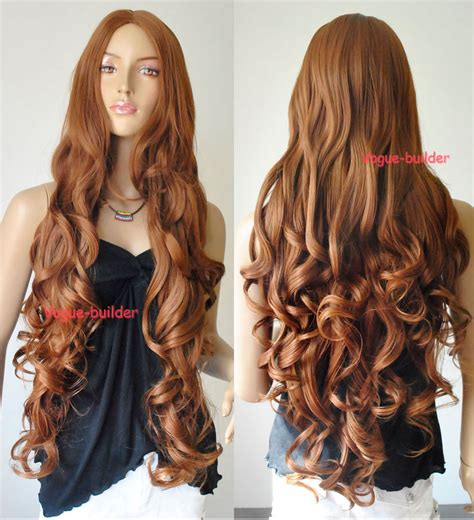 curly brown hair looking stringy 35 quot long brown spiral wavy cosplay party hair wig 30 ebay