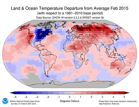 us temperature map february 2015 global temperatures start the way 2014 ended
