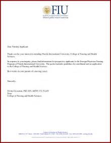 Cover Letter For Nursing School by Letter To Nursing School For Admission