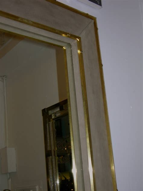Mirror Floor L by 1970s Italian Suede Leather Floor Mirror With Modern
