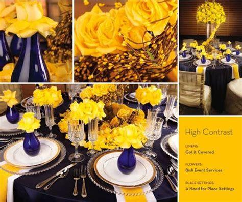 cobalt blue  yellow wedding decorations  team
