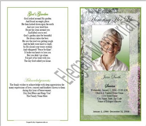 obituary phlet template memorial phlet exle