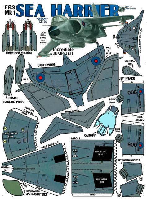 Paper Craft Aeroplane - sea harrier frs mk1 fiddlers green paper models