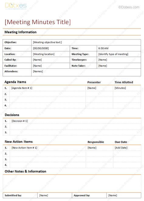Meeting Minutes Template Detailed Format Dotxes Meeting Layout Template