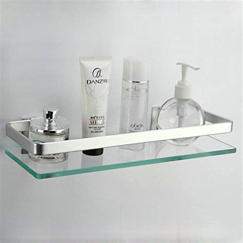 Kes Bathroom Glass Shelf With Rail Aluminum And Extra Bathroom Glass Shelves With Rail