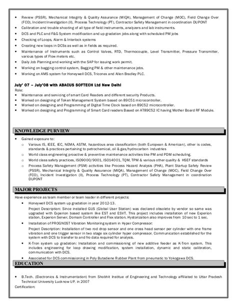 Year 9 Resume by Resume Instrumentation Engineer 9 Year Experience