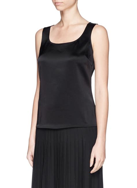 Tank Top Cantik 6 lyst st liquid satin tank top in black