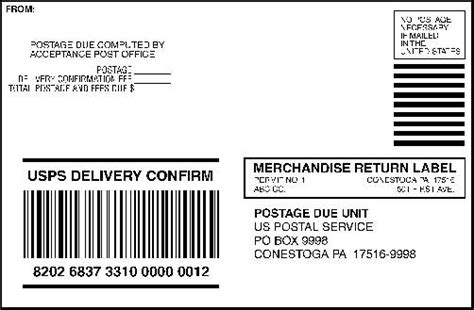 Domestic Mail Manual S923 Merchandise Return Service Merchandise Return Label Template