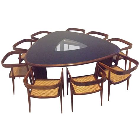 Triangular Dining Table Triangular Dining Table And Chairs By Joaquim Tenreiro At 1stdibs