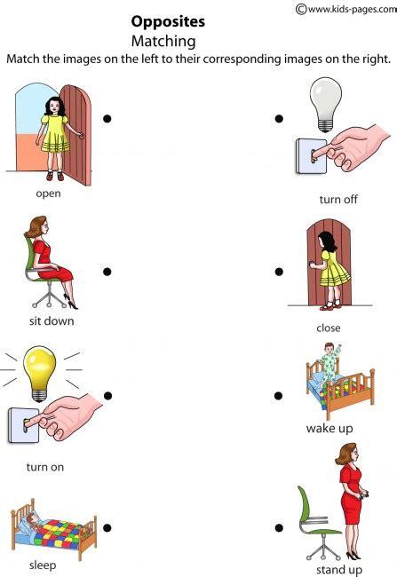 printable worksheets opposites kindergarten matching opposites worksheets free preschool printable