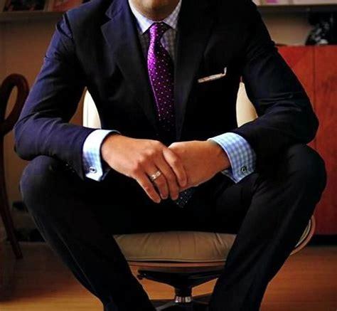 Blue suit blue gingham shirt purple polkadot tie men s style men