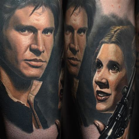 han solo tattoo han princess leia portrait by nikko hurtado