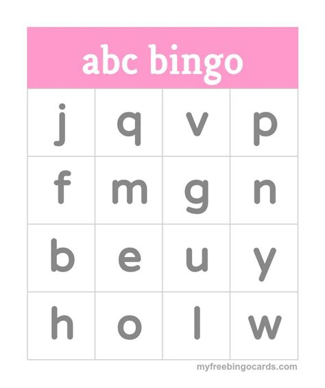 printable alphabet bingo 8 best alphabet bingo images on pinterest alphabet bingo