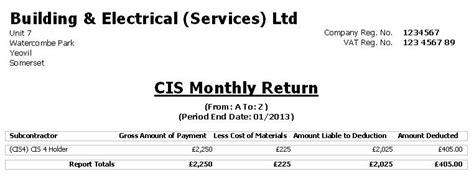 cis receipt template construction industry accounts cia software reports