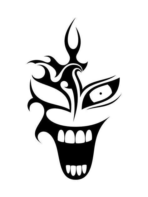 black tribal clown tattoo design love pinterest