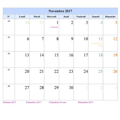 Calendrier Novembre 2017 à Imprimer Calendrier Mensuel 2017 A Imprimer Calendar Template 2016