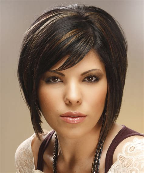 front view of side swept hairstyles medium straight formal bob hairstyle with side swept bangs