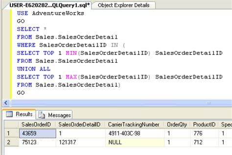 Select From Tables Sql by Sql Server How To Retrieve Top And Bottom Rows Together