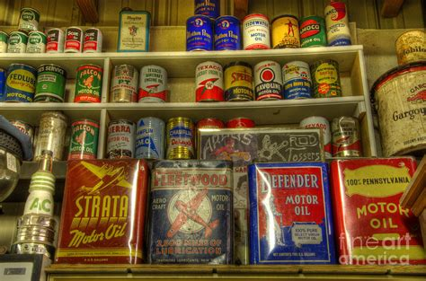 Garage With Workshop Plans Vintage Garage Oil Cans Photograph By Bob Christopher