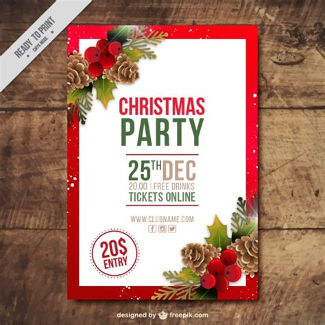 christmas party brochure with pine cones and mistletoe in