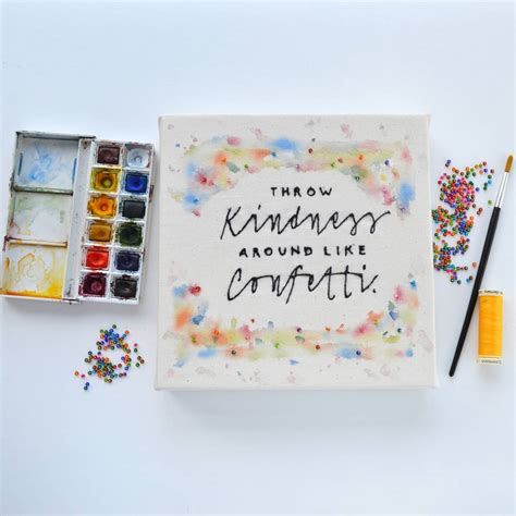 Handmade Canvases - handmade kindness typography canvas by pins and
