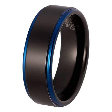 Carbide Wedding Band by Mens Blue Wedding Ring Tungsten Wedding Bands