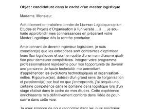 Exemple De Lettre De Motivation Logisticien Lettre De Motivation Master Logistique Par Lettreutile