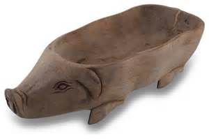 Decorative Fruit Bowl hand carved pig wooden centerpiece bowl traditional