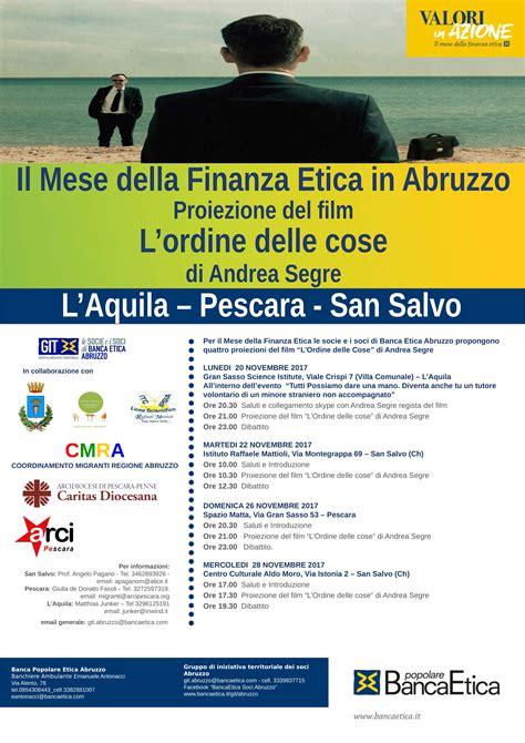 Banca Etica Pescara by Git Abruzzo Proiezioni Quot L Ordine Delle Cose
