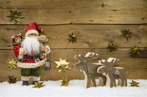 santa ckaus with snow decoration decoration santa claus with wooden reindeer on backgr stock photo image 40832100