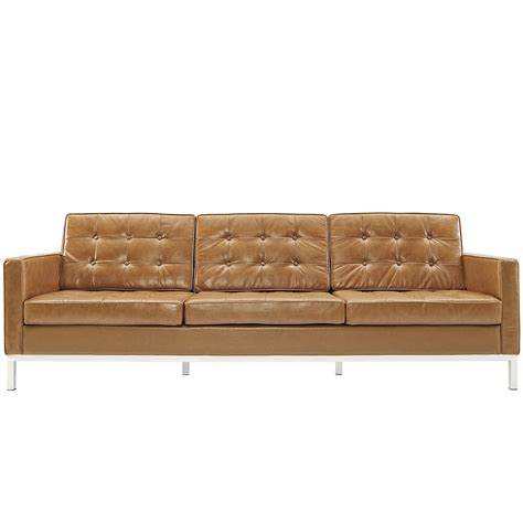 couch leather old and vintage brown leather 3 seater tufted sofa with