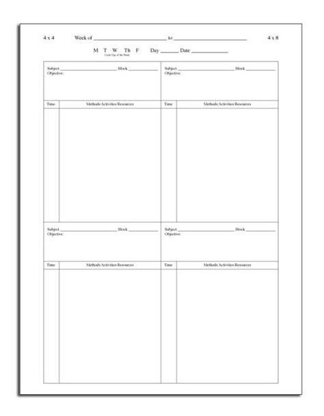block lesson plan template 17 best images about schedules on homeschool